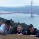 Christopher's signature Marin Headlands Pose with Rebecca & Papa Quin