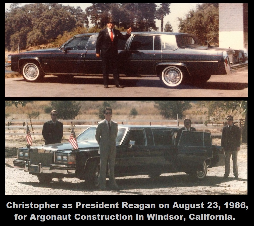 1986-08-23-Christopher as Reagan with SS Escort and Limo