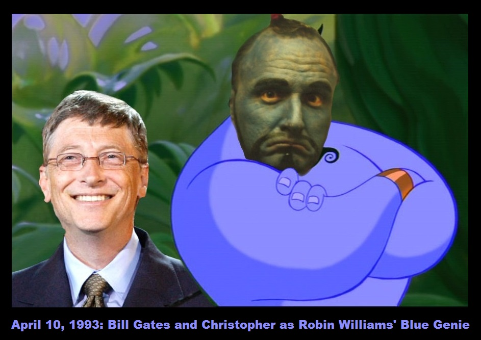 1993-04-10-Bill Gates and Christopher as Robin Williams' Blue Genie-caption
