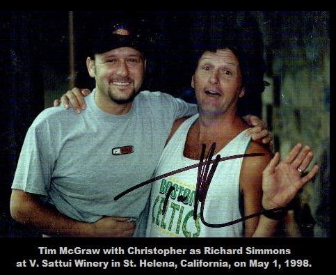 1998-05-01-Tim McGraw with Christopher as Richard Simmons